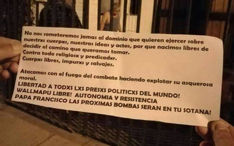 Chile: Atacaron iglesias y dejaron duro mensaje al Papa Francisco