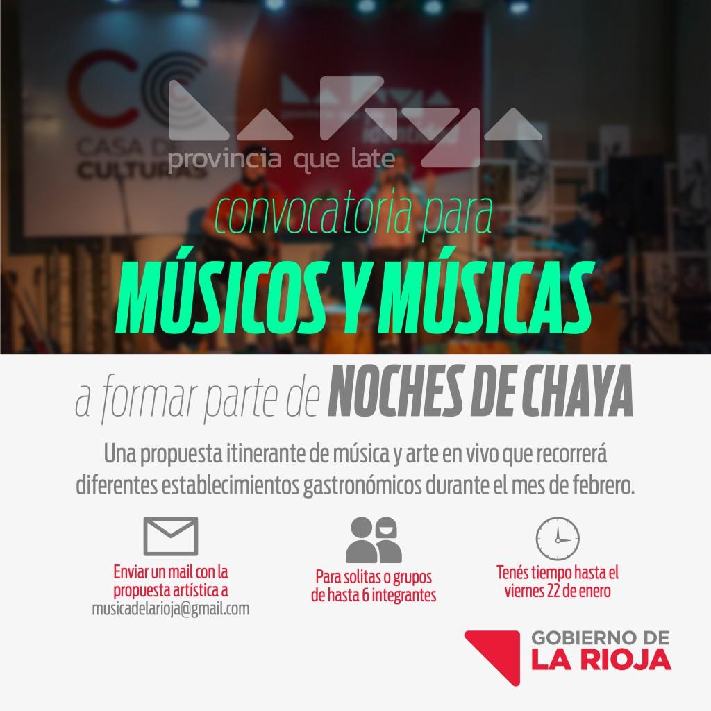 """Convocatoria para músicos y músicas en las """"Noches de Chayas"""""""