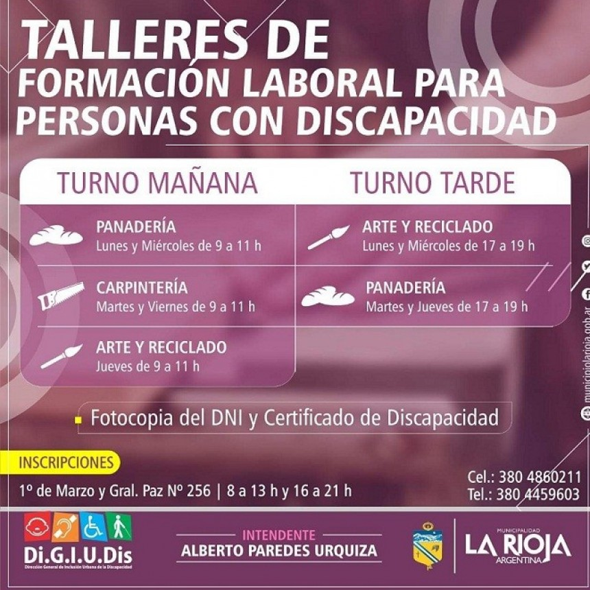 Municipio desarrolla talleres de oficios para discapacitados