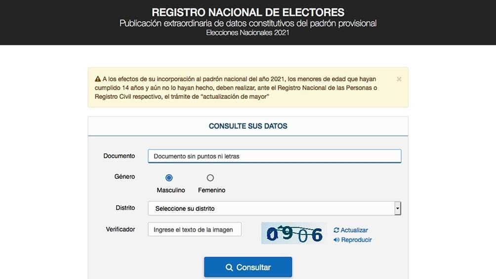 Elecciones 2021: Ya se puede consultar el padrón electoral provisorio