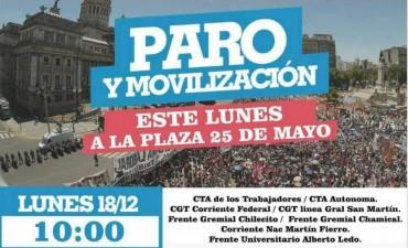 Gremios se movilizan a Plaza 25 de Mayo en contra del Ajuste de Cambiemos