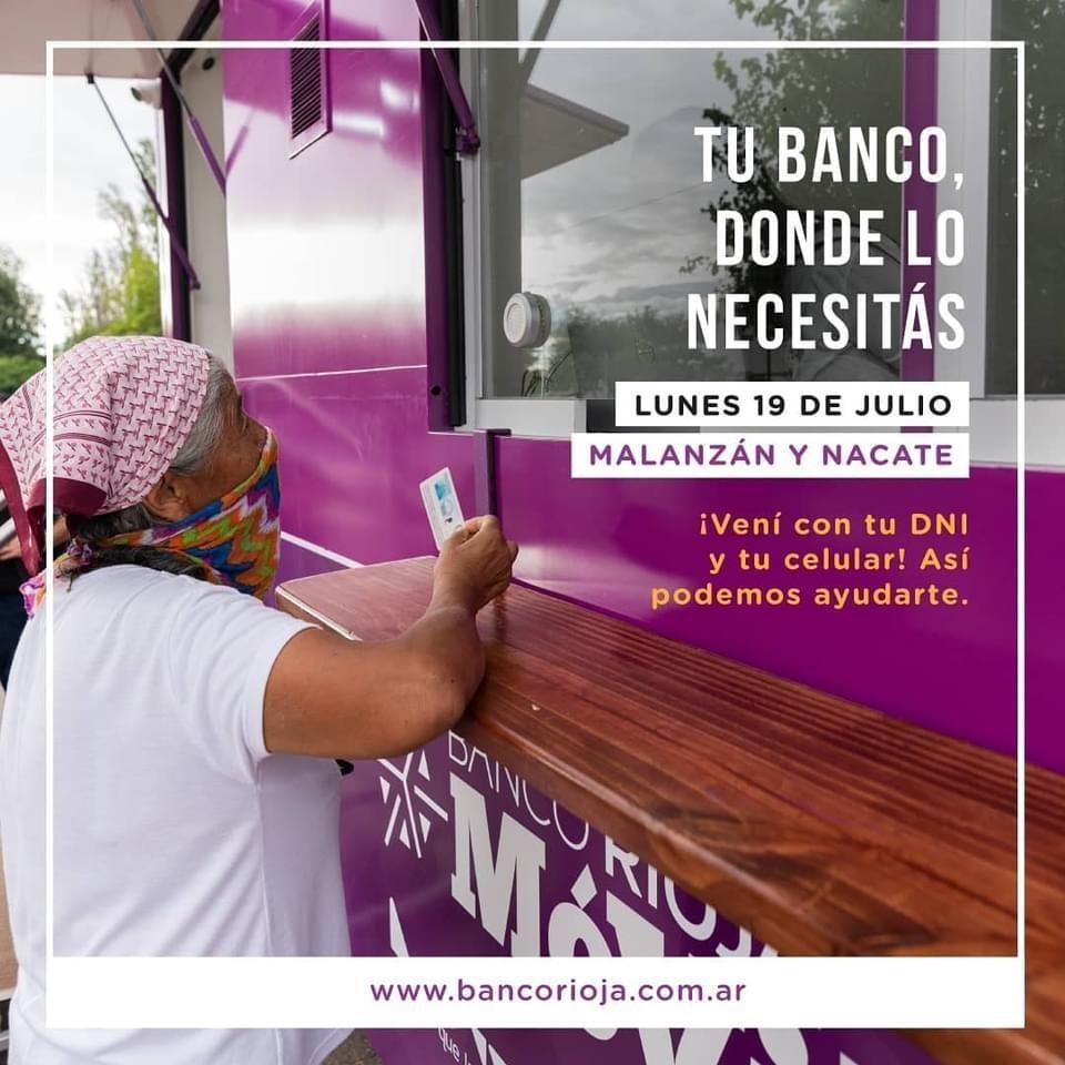 Banco Rioja Móvil llegará a Malanzán y Nacate