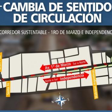 El Municipio capitalino habilitó parcialmente el cambio de sentido a la calle Independencia