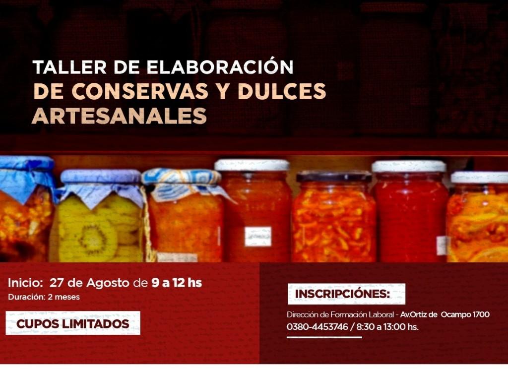 Se realizará taller de elaboración de conservas y dulces artesanales