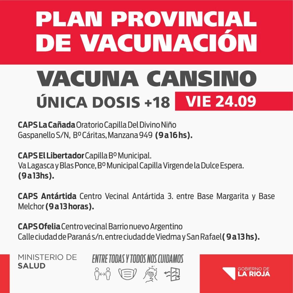 Realizarán vacunación libre con la vacuna CanSino