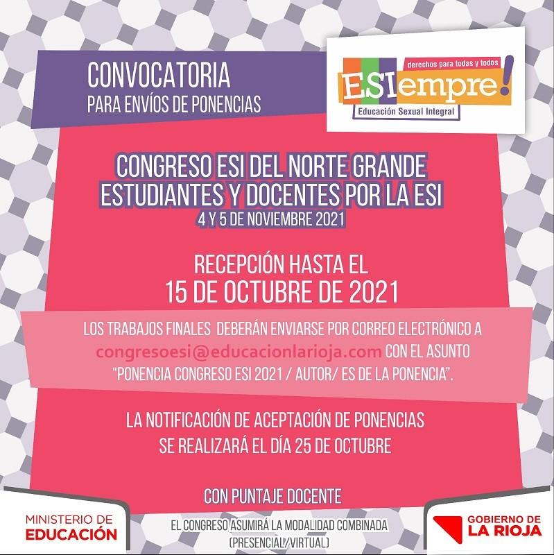 """Educación invita a presentar ponencias para el """"Congreso ESI del Norte Grande de Estudiantes y Docentes"""""""