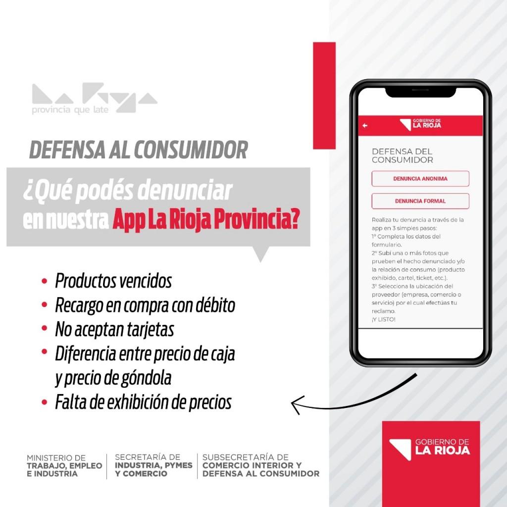 """Consumidores podrán realizar denuncias a través de la app """"La Rioja Provincia"""""""
